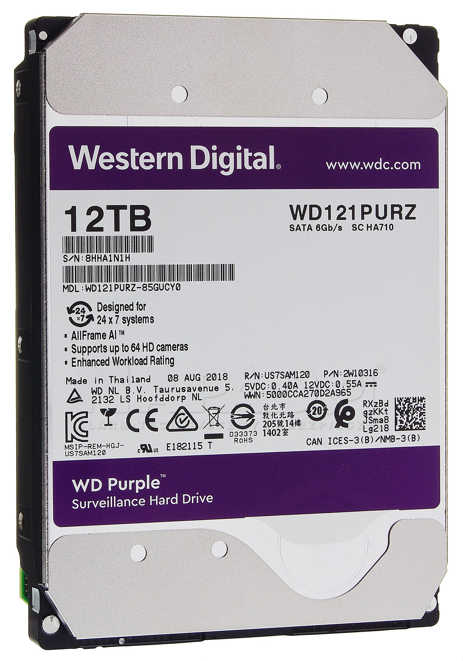 Dysk 12TB SATA III Western Digital Purple