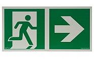 AA E107 kierunek do wyjścia ewakuacyjnego w prawo