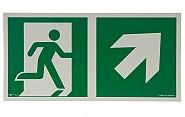 AA E106 kierunek do wyjścia ewakuacyjnego w górę w prawo