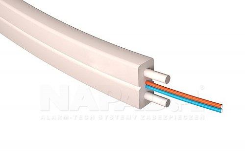 Kabel światłowodowy, płaski SM 2J G.657A1 LSZH biały