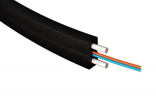 Kabel światłowodowy, płaski SM 2J / 4J G.657A1 FTTH LSZH czarny
