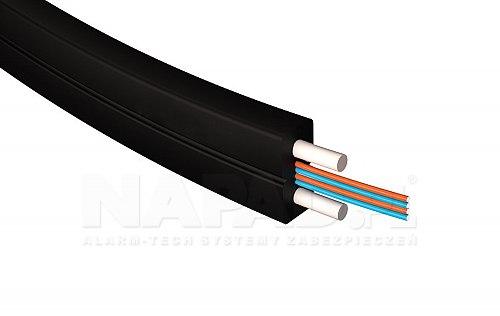 Kabel światłowodowy, płaski SM 4J G.657A1 LSZH czarny