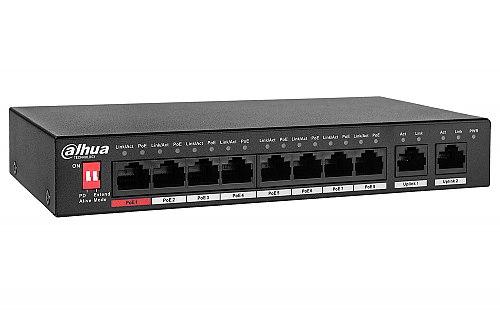 Switch PoE, niezarządzalny, 8 portów PoE Dahua PFS3010-8ET-96-V2