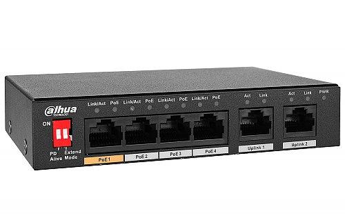 Switch PoE, niezarządzalny, 4 porty PoE Dahua PFS3006-4ET-60