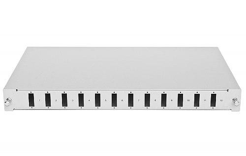 Przełącznica optyczna z kasetą, 12 portów SC duplex jasnoszara