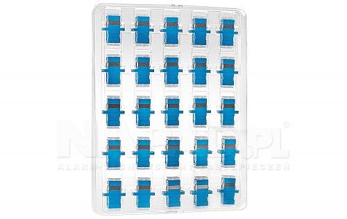 Komplet adapterów SM 1x SC/UPC - 1x SC/UPC SIMPLEX bezbarwne zaślepki