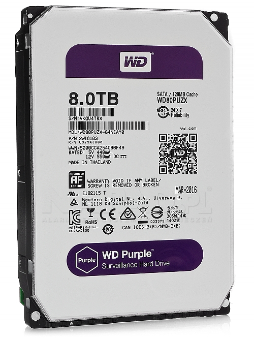 Dysk 8TB SATA III Western Digital Purple