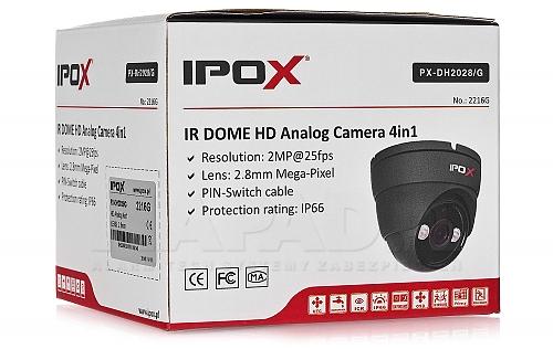 Kopułkowa kamera 4w1 IPOX PX-DH2028 w kolorze grafitowym