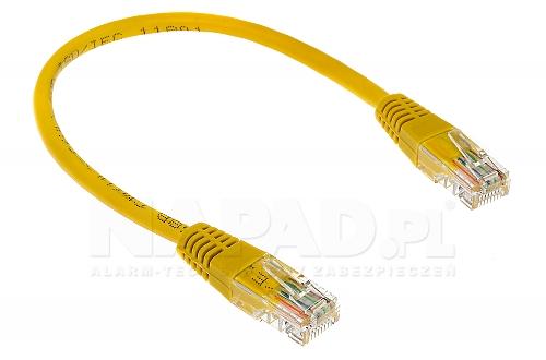 Patchcord UTP 5E; 25 cm; żółty