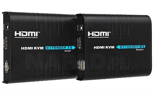 Extender HDMI na IP z przedłużaczem USB (TX+RX)