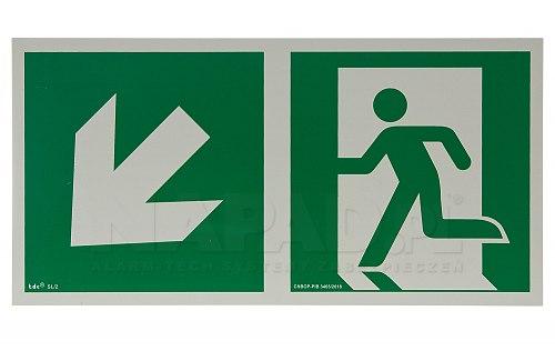 AA E103 kierunek do wyjścia ewakuacyjnego w dół w lewo