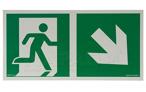 AA E108 kierunek do wyjścia ewakuacyjnego w dół w prawo