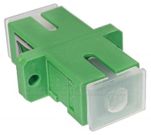 Adapter jednomodowy SC/APC simplex z zaślepkami transparentnymi
