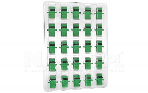 Komplet adapterów SM 1x SC/APC - 1x SC/APC SIMPLEX bezbarwne zaślepki