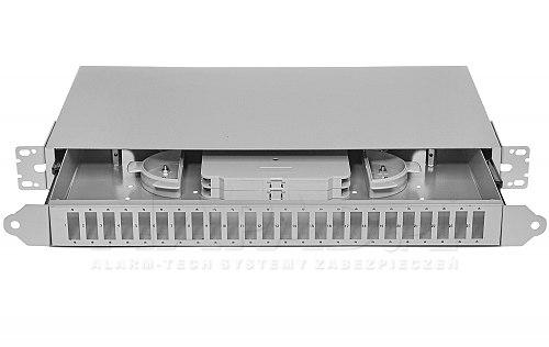 Panel światłowodowy 24 porty SC duplex jasnoszary (rolki)