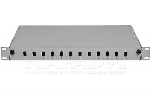 Przełącznica FO 12 portów SC simplex szara