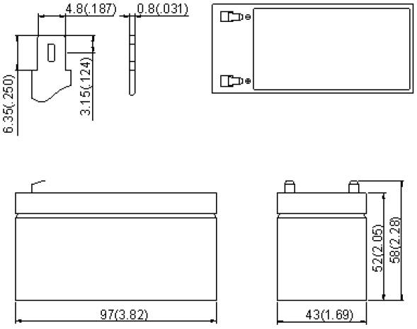 Wymiary akumulatora żelowego 1.3Ah 12V