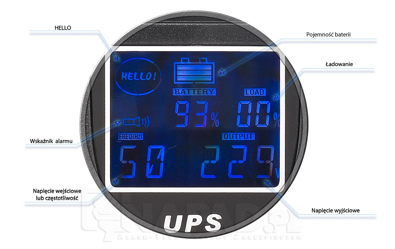 Wyświetlacz zastosowany w zasilaczu awaryjnym AT-UPS1200-LCD.