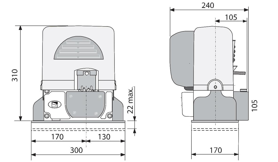 Wymiary siłownika BX246 w milimetrach.