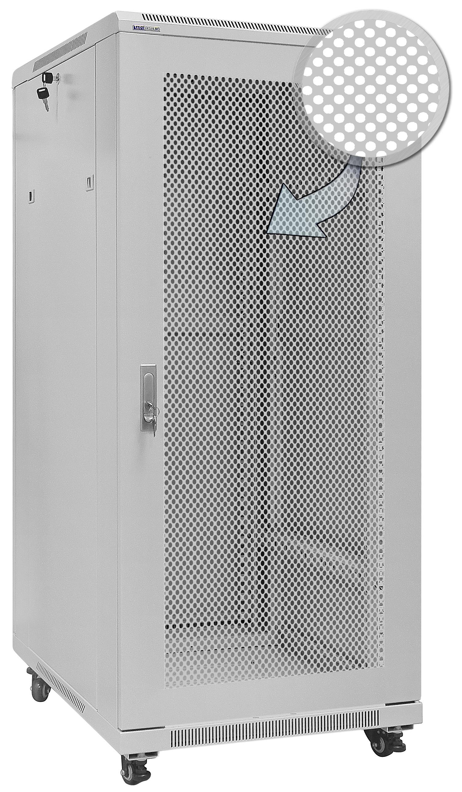 """Stojąca szara szafa rack 19"""" Rack Systems S6627DPW"""