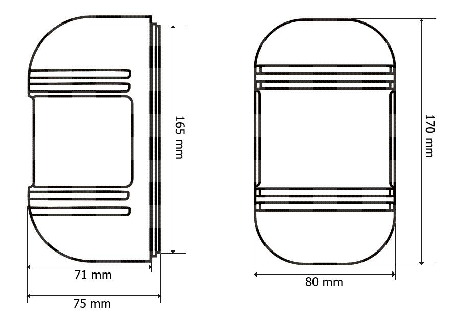 Wymiary bariery podczerwieni BS-BD2 100m.