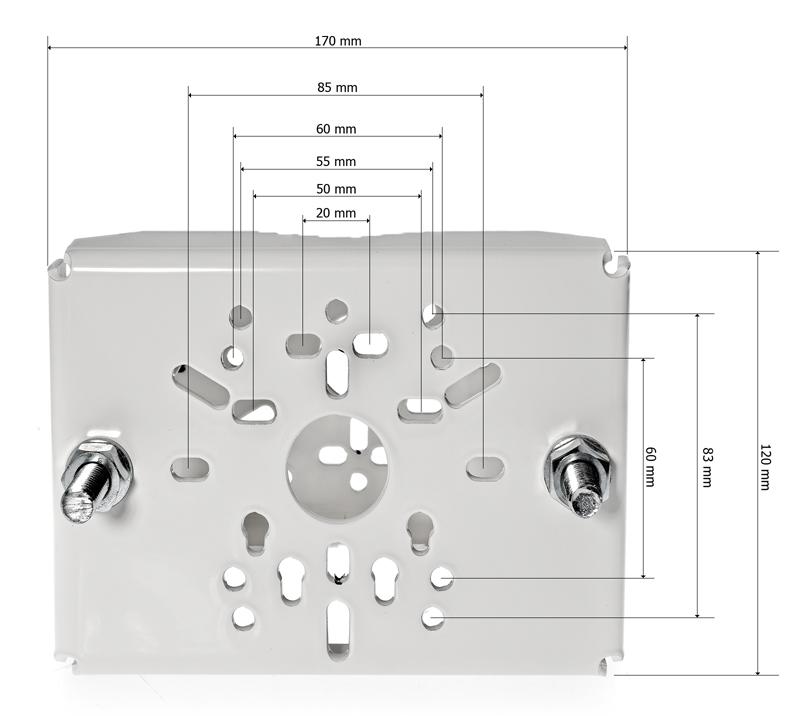 DKS-105 - Wymiary uchwytu na słup.