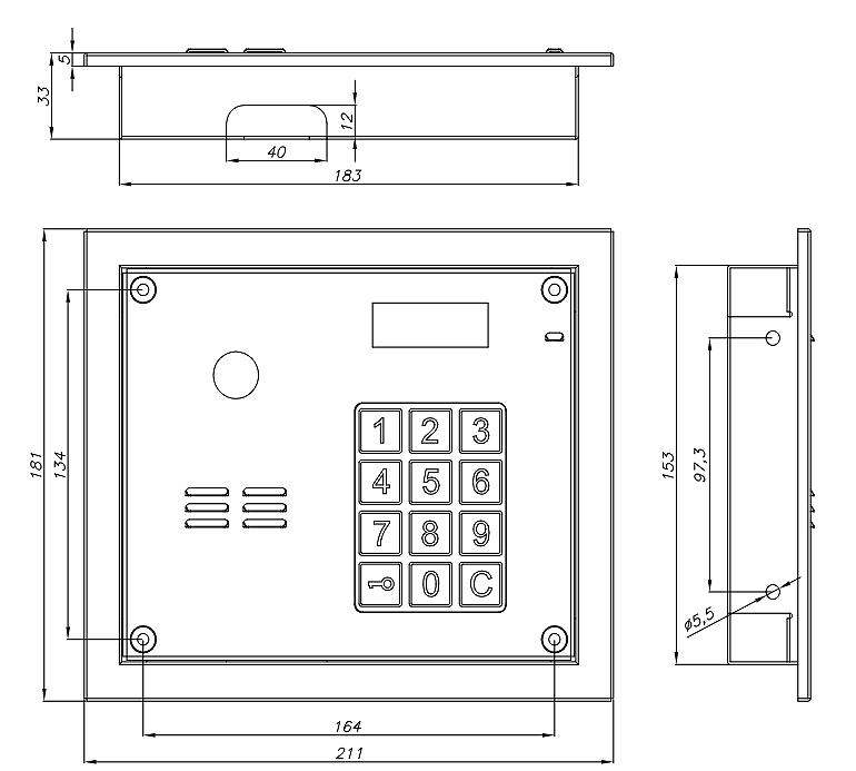 CP-3103R - Wymiary panelu Laskomex.