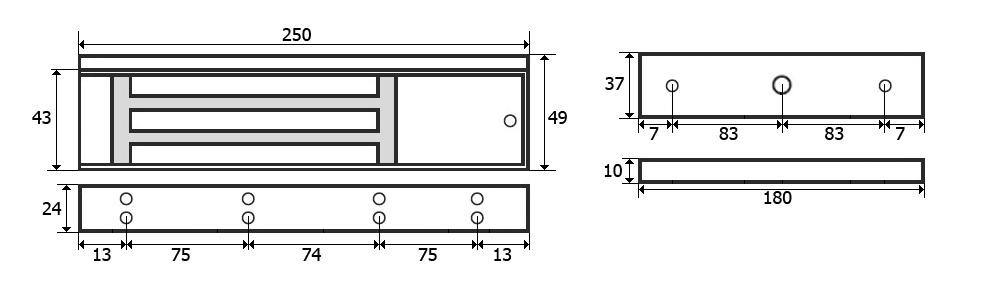 Wymiary zwory EL600SL w milimetrach.