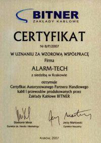 Bitner Zakłady Kablowe - certyfikat