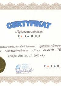 Paradox - systemy alarmowe - certyfikat