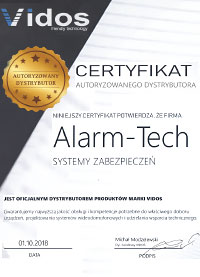 Certyfikat Autoryzowanego Dystrybutora Vidos