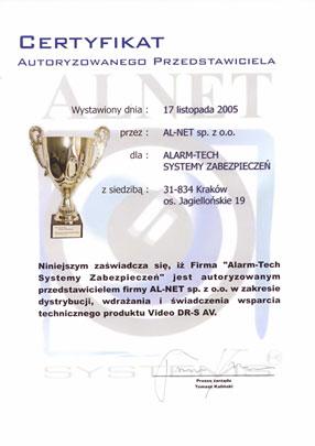 Autoryzowany Dystrybutor Alnet - certyfikat
