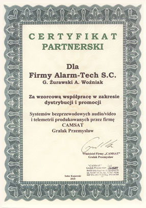 Autoryzowany Dystrybutor Camsat - certyfikat