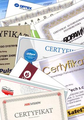 Autoryzowana Dystrybucja Systemów Zabezpieczeń - certyfikat