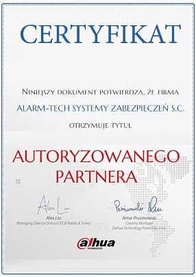 Autoryzowany Dystrybutor Dahua - certyfikat