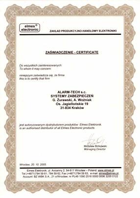 Autoryzowany Dystrybutor Elmes - certyfikat