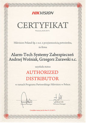 Autoryzowany Dystrybutor Hikvision - certyfikat