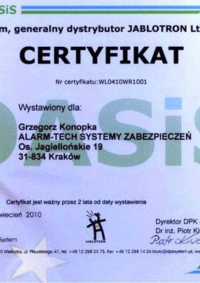 Autoryzowany Dystrybutor Jablotron - certyfikat