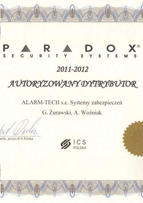 Autoryzowany Dystrybutor Paradox - certyfikat