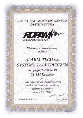 Autoryzowany Dystrybutor Ropam - certyfikat
