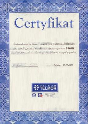 Autoryzowany Dystrybutor Telkom-Telmor - certyfikat