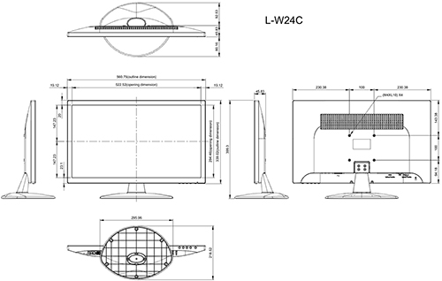 L-W24C - Wymiary monitora AG Neovo.