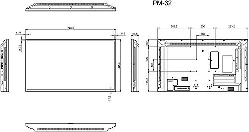 PM-32 - Wymiary monitora AG Neovo.