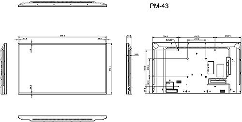 PM-43 - Wymiary monitora AG Neovo.