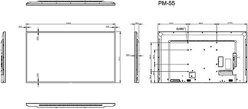 PM-55 - Wymiary monitora AG Neovo.