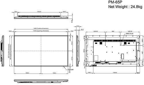 PM-65P - Wymiary monitora AG Neovo.