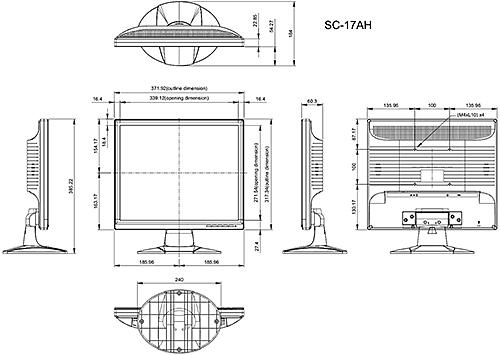 SC-17AH - Wymiary monitora AG Neovo.