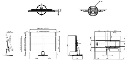 SC-22E - Wymiary monitora AG Neovo.