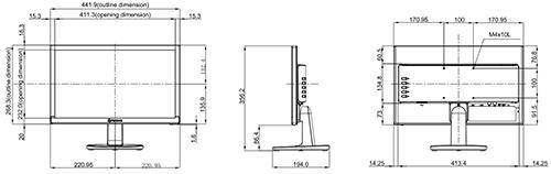 SC-19E - Wymiary monitora AG Neovo.