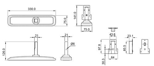 Wymiary podstawek do monitora (mm).
